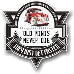 Koolart OLD MINIS NEVER DIE Motif For Classic Mini Cooper S Works Rally Vinyl Car Sticker 100x100mm